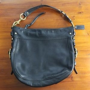 Coach Large Zoe Black Leather/Gold Hobo Shoulder
